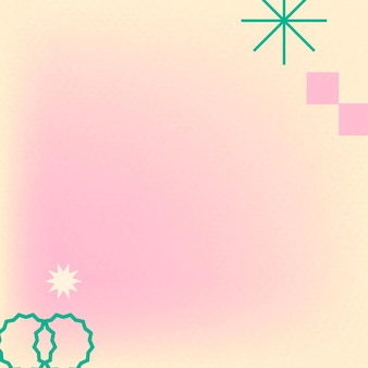 Gradiente de vetor abstrato memphis rosa com formas geométricas