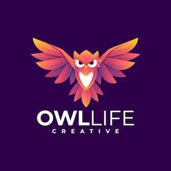 Gradiente de vida da coruja do logotipo