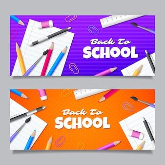 Gradiente de volta à escola banners com foto