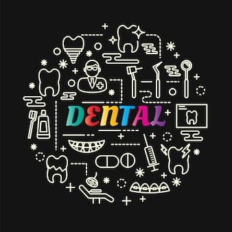 Gradiente dental dental com conjunto de ícones de linha