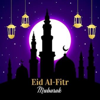 Gradiente eid al-fitr - ilustração de eid mubarak