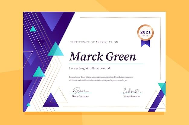 Gradiente elegante certificado de apreciação