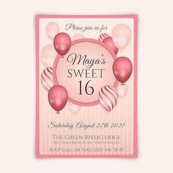 Gradiente elegante convite de aniversário