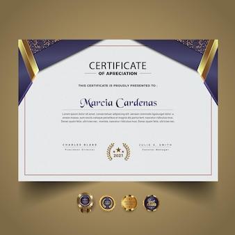 Gradiente elegante modelo de design de certificado