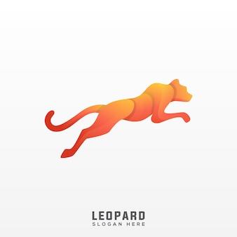 Gradiente impressionante de logotipo de leopardo