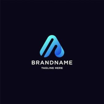 Gradiente letra a logotipo com forma abstrata