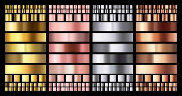 Gradiente metálico elegante. gradientes de medalhas brilhantes em ouro rosa, prata e bronze. ouro, cobre rosa e coleção de metal cromado