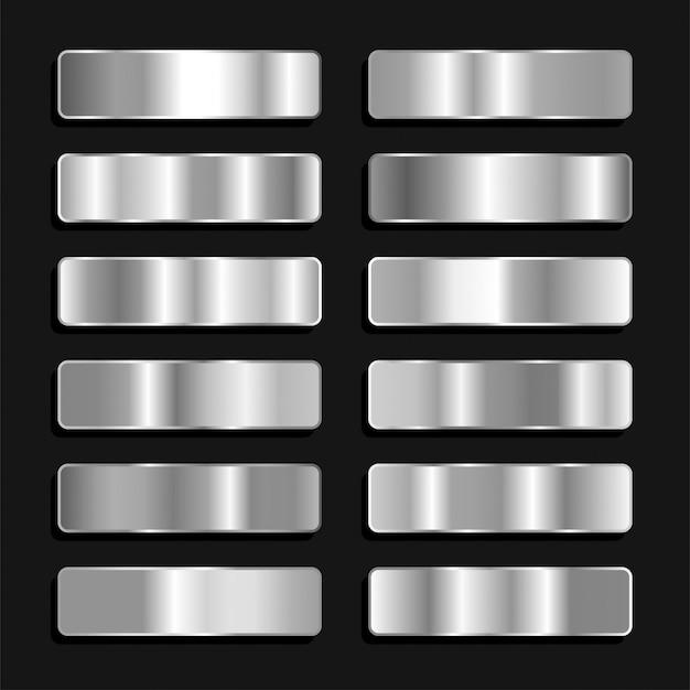 Gradiente metálico prata titânio ferro paleta de cores