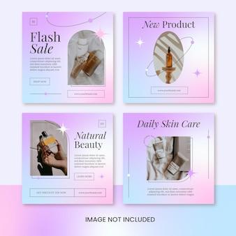 Gradiente minimalista beleza cuidados com a pele produto instagram post feed template vector