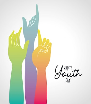 Gradiente multicolorida levante o dia feliz da juventude
