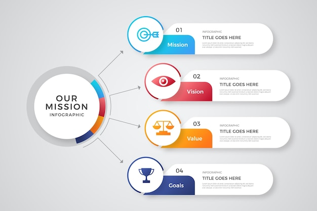 Gradiente nossos infográficos de missão Vetor grátis