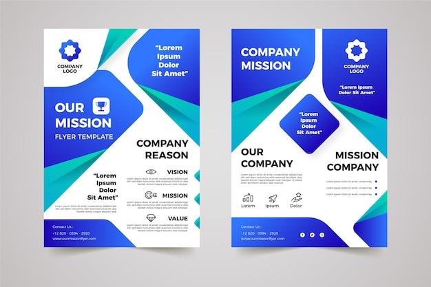 Gradiente nossos panfletos de missão configurados