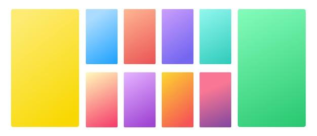 Gradiente pastel suave e vibrante fundo de cor suave definido para dispositivos