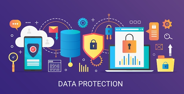 Gradiente plano moderno banner de modelo de conceito de proteção de dados com ícones e texto.
