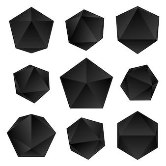 Gradiente preto cor vários ângulos icosaedros decoração formas coleção fundo branco