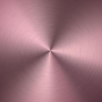 Gradiente radial metálico rosa ouro com riscos. efeito de textura de superfície de folha de ouro rosa.
