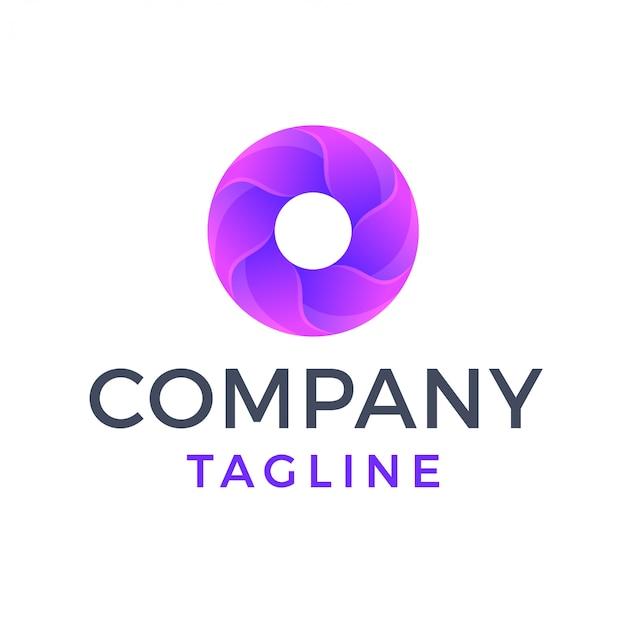 Gradiente redondo abstrato deixa o logotipo