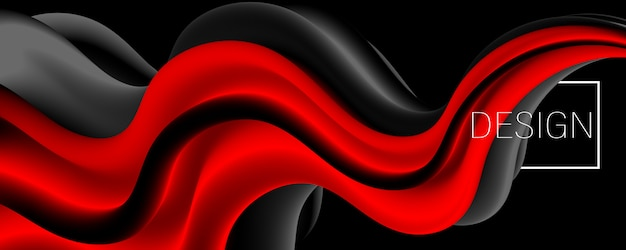Gradiente vermelho. líquido de tinta. onda 3d. cor fluida.