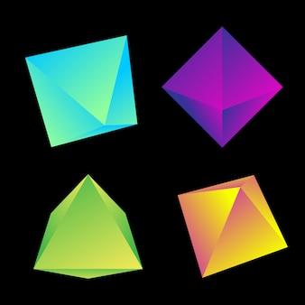 Gradiente vibrante cor vários ângulos octaedros decoração formas coleção fundo preto