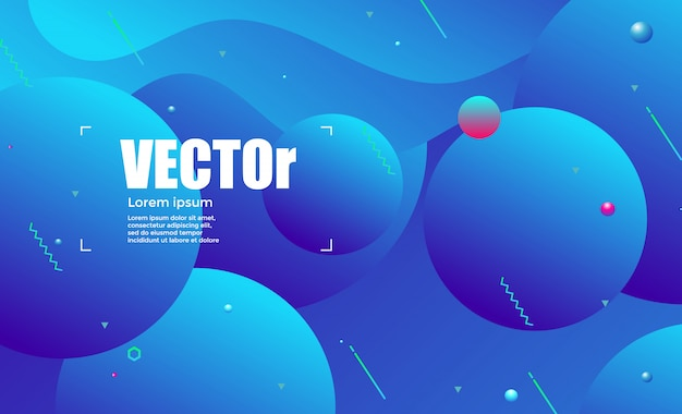 Gradientes abstratos círculo ondas fundo colorido azul Vetor Premium