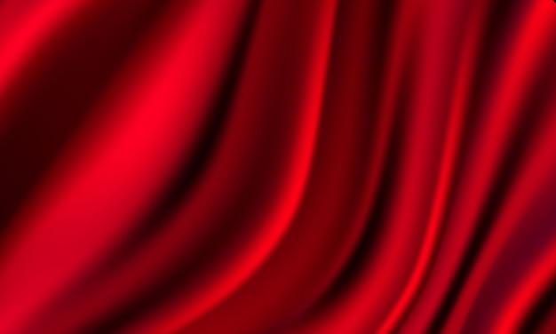 Gradientes abstratos, fundo de modelo de banner de ondas vermelhas de tecido.