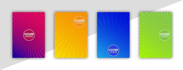 Gradientes de meio-tom colorido, modelo de design de capa mínima definida com círculos abstratos e fundo gradiente