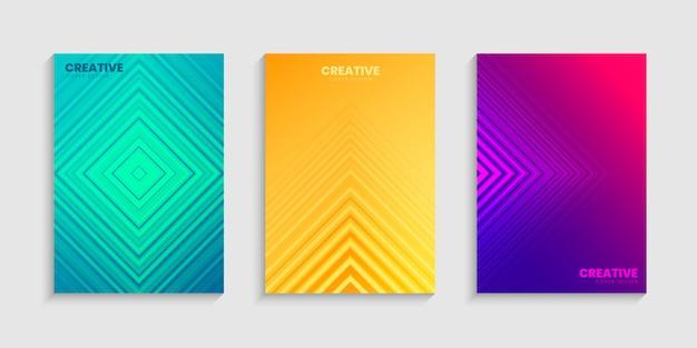 Gradientes de meio-tom colorido, modelo de design de capa mínima definida com fundo gradiente