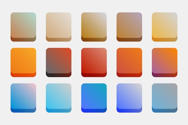 Gradientes definidos em cores quentes e frias