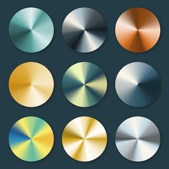 Gradientes metálicos cónicos de metal prateado e dourado