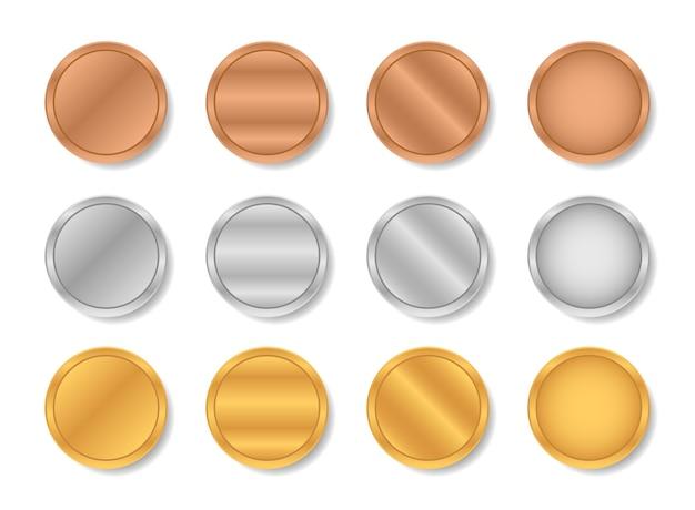 Gradientes metálicos de ouro, prata e bronze.