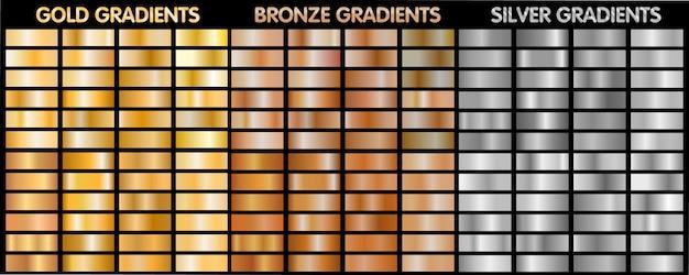Gradientes metálicos em ouro, prata e bronze.