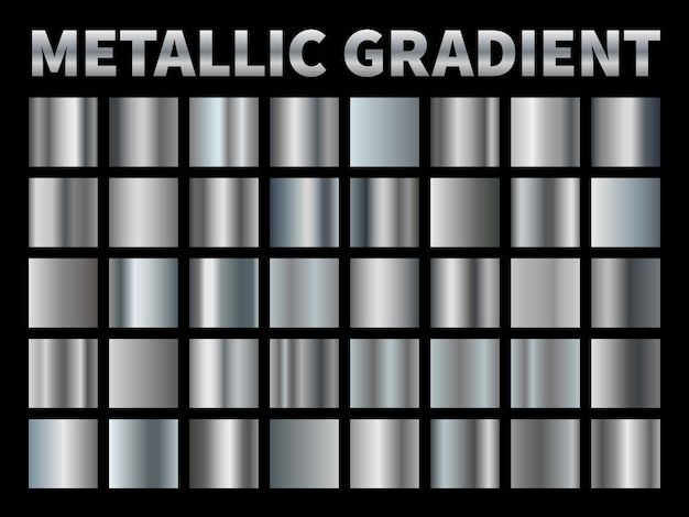 Gradientes metálicos. folha de prata, quadro de fita cinza borda metálica brilhante gradiente, alumínio cromado brilhante com reflexão. conjunto
