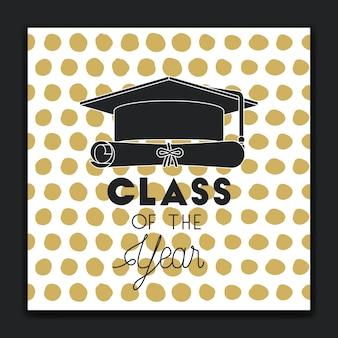 Graduação cartão de rotulação com chapéu e diploma