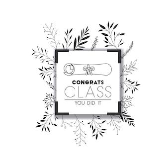 Graduação cartão de rotulação com diploma de graduação