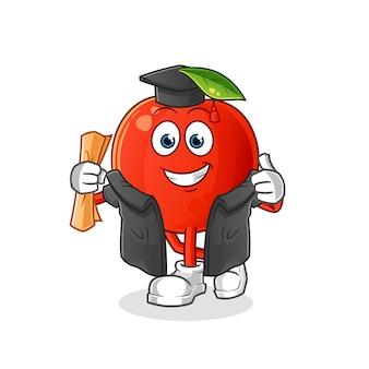 Graduação da cereja. personagem de desenho animado