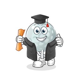 Graduação de bola de golfe. personagem de desenho animado