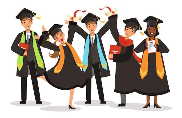 Graduação de ilustração de estudantes internacionais felizes
