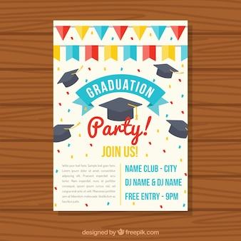 Graduação, flyer, guirlandas, graduação, tampões, liso, desenho