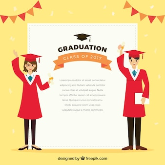 Graduação, fundo, sorrindo, estudantes