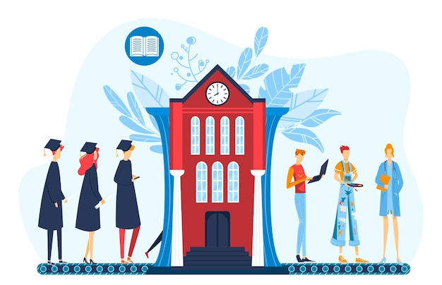 Graduação, ilustração plana do conceito de carreira profissional.