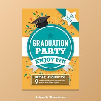 Graduação partido folheto com confetes coloridos