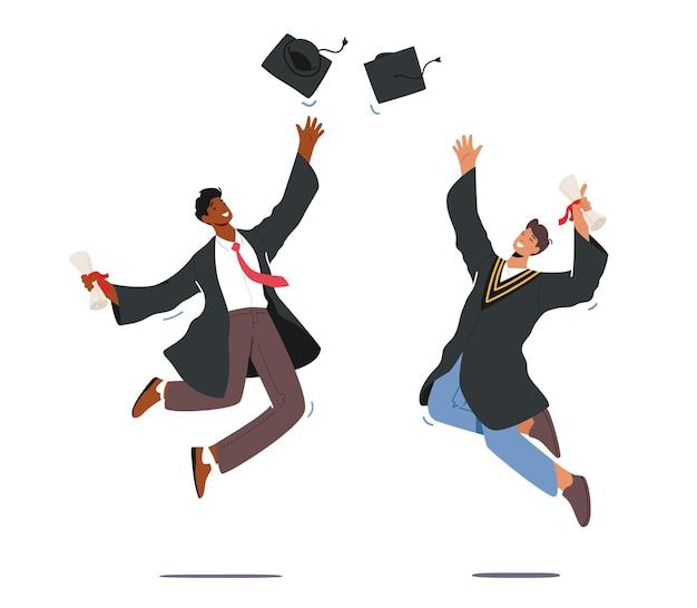 Graduação universitária, personagens masculinos em vestido de formatura com certificado de diploma