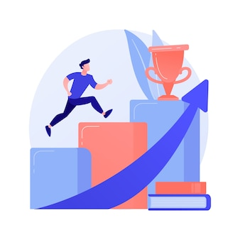 Graduação universitária. realização, educação superior, grau acadêmico. aluno bem sucedido pulando, segurando o mortarboard. desenvolvimento pessoal