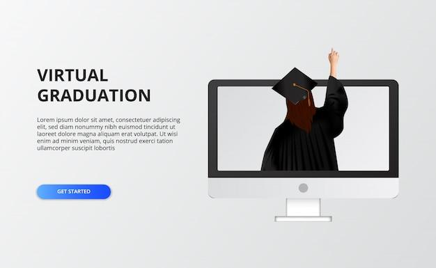 Graduação virtual por tempo de quarentena na covid-19. mulher usa vestido e chapéu de formatura para transmissão ao vivo de festa de formatura no computador.