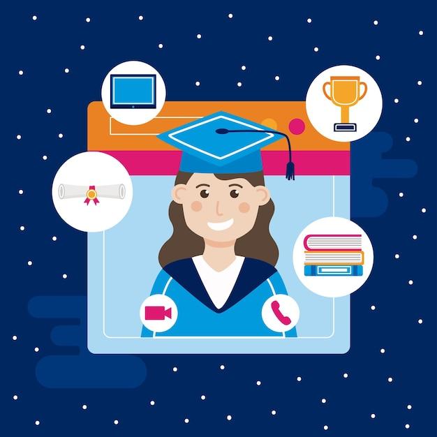 Graduada com ícones