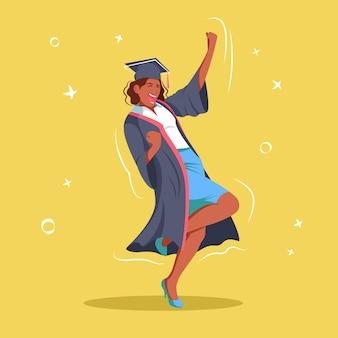 Graduada de menina de pele escura fica feliz em terminar seus estudos.