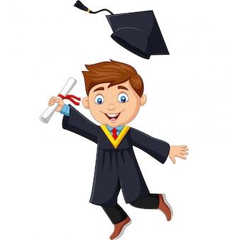 Graduado de menino dos desenhos animados, segurando um diploma