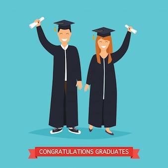 Graduados de menino e menina.