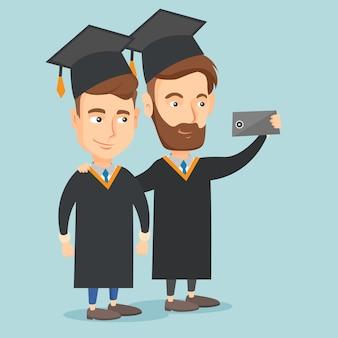 Graduados fazendo ilustração vetorial de selfie.