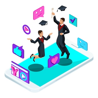 Graduados, pulando alegrem-se, roupas acadêmicas, diploma, manto, atiram em blog de vídeo, emoticons, gostos, smartphone, transmissão de vídeo